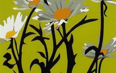 daisy on lime green