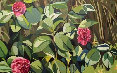 Winter - Three camellia, deadwood and small daffodiles
