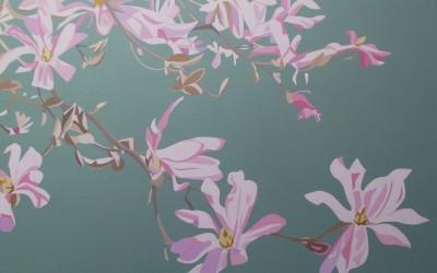 Spring - Pink Magnolia on green